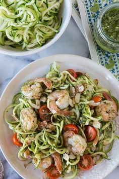 Zucchini Noodles with Grilled Shrimp in Lemon-Basil Dressing | 28 Clean Eating Recipes To Make On The Grill