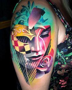 Tattoo artist neo parker (rober pedragosa), authors style color portrait re Body Art Tattoos, Girl Tattoos, Sleeve Tattoos, Small Tattoos, Grey Tattoo, Color Tattoo, Mago Tattoo, Body Art Photography, Inked Magazine