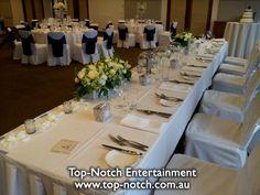 Wedding table place setting.  www.top-notch.com.au  www.facebook.com/WeddingDJTopNotch