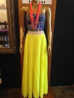 Sunburst yellow pleated maxi skirt with pockets