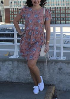 blush and serenity spring dress, floral dress, 2016 pantone colors, spring floral dress, dress and tennis shoes, how to wear tennis shoes with a dress, ked's for women, easy weekend outfit, weekend wear, affordable fashion, affordable style blogger, style blogger, fashion blog with affordable style