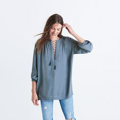 Lace-Up Peasant Top : tops & blouses   Madewell