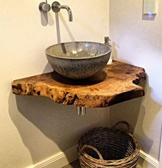 vintage deko ideen waschtischplatte aus massivem nussbaumholz nach mas – Wood Design vintage decor ideas vanity top made of solid walnut wood according to mas Bathroom Sink Bowls, Farmhouse Bathroom Sink, Rustic Bathrooms, Small Bathroom, Bathroom Vanities, Bathroom Ideas, Bathroom Remodeling, Bowl Sink, Sinks