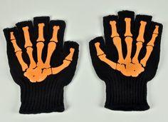 Orange Fingerless Skeleton Work Gloves Goth Punk Bone Metal
