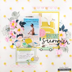 Paint + Stencils: Summer Layout with Flora Hi Crate Paper fans! It's Flóra back today sharing a new scrapbook layout with you. This time I have used the beautiful Maggie Holmes Sunny Days collection. I used three of my favorite color - pink, mint and Paper Bag Scrapbook, 12x12 Scrapbook, Scrapbook Supplies, Scrapbooking Layouts, Digital Scrapbooking, Heritage Scrapbooking, Cool Stencils, Paint Stencils, Smash Book Pages