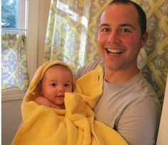 As you may have noticed from my previous post, Jude is an extra large 5 month old and I thought he deserved an extra large hooded towel. With $5 and 15 minutes, I made him one, and it even matches my bathroom! Here's the tutorial, in case you need to...