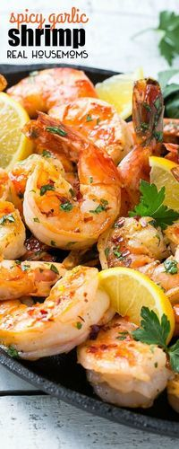 This recipe for SPICY GARLIC SHRIMP has bold flavors and only takes 5 minutes to cook! The perfect appetizer or main course. #Realhousemoms #Appetizer #Redpepperflakes #Shrimp #Garlic
