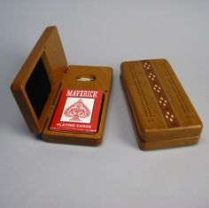 """Wood marquetry cribbage boards. Hinged top; 7"""" long. Made in USA. $39"""