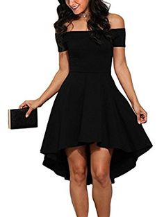 54e046613b Sidefeel Women Off Shoulder Sleeve High Low Skater Dress at Amazon Women s  Clothing store  Kleidung