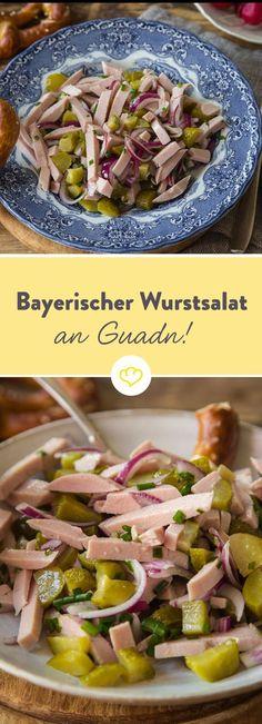 Zu einer richtigen, bayrischen Brotzeit gehört der deftige Wurstsalat einfach dazu! Ein paar einfache Zutaten schnippeln, mixen und ziehen lassen - Fertig.