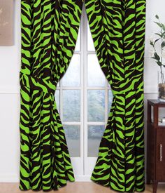 Buy the Zebra Lime Green Collection Rod Pocket Drapes or Valance and more quality Fishing, Hunting and Outdoor gear at Bass Pro Shops. Zebra Curtains, Printed Curtains, Drapes Curtains, Valance, Curtain Panels, Black Curtains, Drapery Fabric, Zebra Print Bedding, Animal Print Curtains