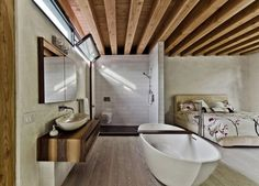 Interior, Minimalist Montreal House Presenting Wooden Beams Accent: Bedroom Integrated With Open Bathroom Design