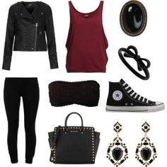 Black leather jacket, deep red frilly tank, black super skinny jeans, black bandeau, black hi-top converse, Black studded handbag
