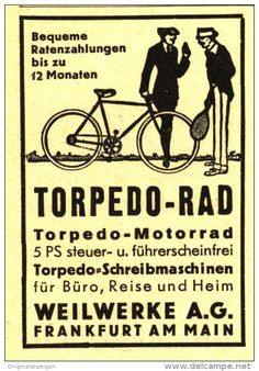 Original-Werbung/ Anzeige 1930 - TORPEDO- RAD / WEILWERKE FRANKFURT - ca. 45 x 65 mm