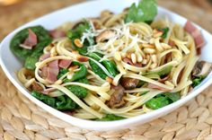 Simplicity at it's finest, this Linguine with Bacon and Spinach dish is packed with delicious ingredients.