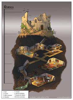 Map by Guillaume Tavernier Fantasy City, Fantasy House, Fantasy Places, Fantasy World, Minecraft Underground, Underground Homes, Underground Garden, Dungeons And Dragons, Rpg Map