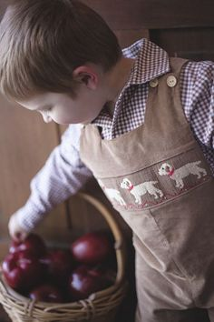 Hand smocked Labs on our soft camel corduroy. Wooden buttons on shoulder for easy alteration. Pair with a Little English Woven Shirt or soft Knit Shirt.: