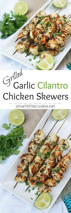 Grilled Garlic Cilantro Chicken Skewers | smartlittlecookie.net