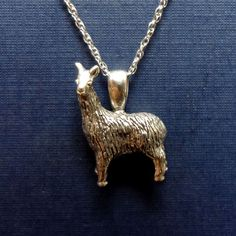 Llama pendant or charm, 3D  handmade in sterling silver.  All Animal Jewelry made in USA