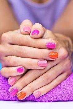 pink and orange, so shiny...   See more nail designs at http://www.nailsss.com/nail-styles-2014/2/