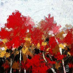 Nel Bosco Di Foglie Rosse - http://www.contemporary-artists.co.uk/paintings/nel-bosco-di-foglie-rosse/