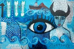 Mermaids for sustainable fishing & clean seas - mixed media on masonite 60x40cms by Tracy Algar
