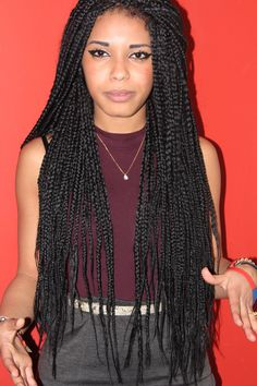 Retro box braids and a cute way to give your hair a rest. To learn how to grow your hair longer click here - http://blackhair.cc/1jSY2ux