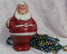 Aged Paper Mache Santa Claus Candy Container, a Very Jolly Fellow
