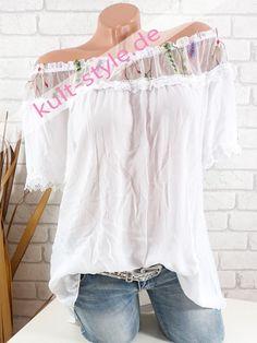 Carmen Top Bluse Tunika Shirt Blumen Stickerei Lagenlook*Schwarz*M L XL-38 40 42