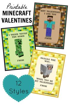 Perfect for the Minecraft Lover. Printable Minecraft Valentine's Day Cards in 12 different designs.