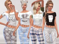 The Sims Resource: Dreaming is Free pajama tee collection by Pinkzombiecupcakes • Sims 4 Downloads