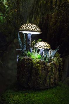 Fairy glowing mushroom home decor - forest -fungi -magic mushrooms Mushroom Lights, Mushroom Art, Unique Lighting, Outdoor Lighting, Lighting Ideas, Luminaria Diy, Mushroom Pictures, Alice In Wonderland Tea Party, Decoration