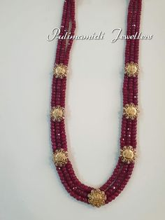 Stunning triple layer ruby long mala studded with Ram parivar kasu. Gold Jewellery Design, Bead Jewellery, Beaded Jewelry, Pearl Jewelry, Gold Jewelry, Beaded Necklace, Emerald Jewelry, Trendy Jewelry, Indian Jewelry