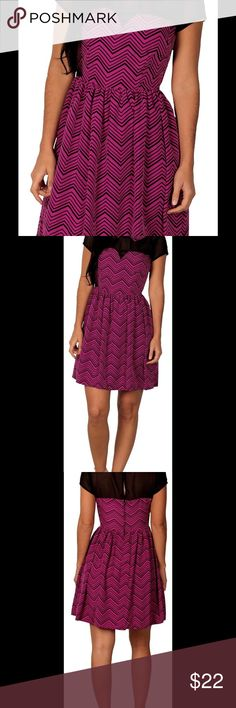 """Junior's Paper Doll Dress Item Information:   Go out in style with this printed illusion dress by Paper Doll. Chic and ultra-feminine, this darling dress is worth raving about. Featuring an on-trend zigzag pattern, a playful Peter Pan collar a flirty, sheer neckline and cap sleeve, it promises to define a stylish ensemble. Zip and button back. 100% Polyester. Machine wash.  Description:  Junior's Printed illusion Dress by Paper Doll          Size 9- Bust 34"""", Waist 28"""", Length 33""""  Material…"""