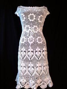 The Early Bird Dress. White summer dress, casual crochet dress, lace dress, beach dress. Made to order.