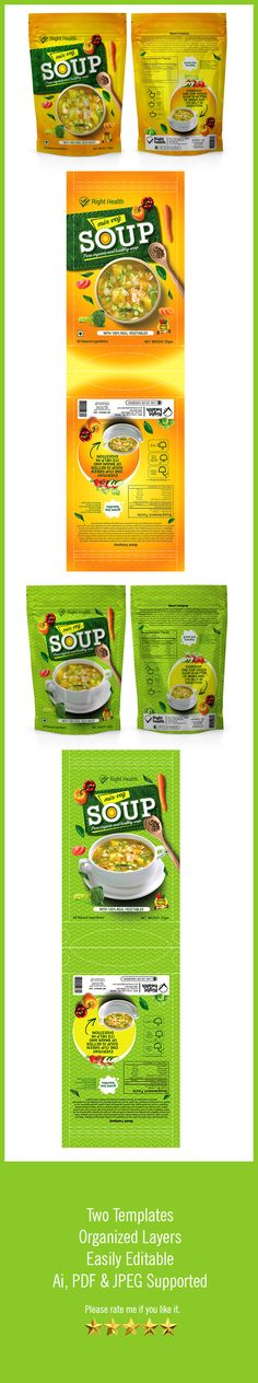 HIGH QUALITY SOUP PACKAGING TEMPLATE. Features: Two Pack Templates, Easy Customizable and Editable, CMYK in 300 DPI Resolution, Print Ready Format