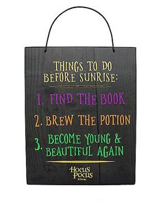 Things to Do Before Sunrise Hocus Pocus Sign Decorations Hocus Pocus Halloween Table, Halloween Signs, Halloween 2019, Diy Halloween Decorations, Spirit Halloween, Holidays Halloween, Halloween Crafts, Happy Halloween, Halloween Party