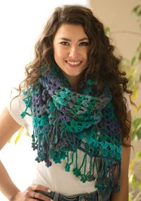 Floral Impressions Wrap - A lacy, fringed #wrap pattern from Love of #Crochet magazine, perfect for a beginner.