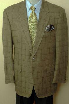 Corneliani $1295 Brown Windowpane Cashmere & Wool Sport Coat Blazer 42L 42 L #Corneliani #TwoButton