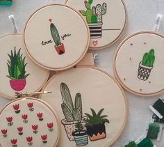 Grand Sewing Embroidery Designs At Home Ideas. Beauteous Finished Sewing Embroidery Designs At Home Ideas. Learn Embroidery, Hand Embroidery Stitches, Embroidery Hoop Art, Cross Stitch Embroidery, Embroidery Patterns, Cactus Embroidery, Softies, Diy Broderie, Softie Pattern