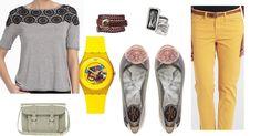 ¿Te gusta la combinacion gris-amarillo? Chic, My Style, Polyvore, Image, Fashion, Blue And White, Yellow, Spring, Colors