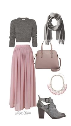 Long pink maxi skirt with gray sweater and gray booties Jupe longue rose longue avec pull gris et bottines grises sweaters Pink Outfits, Mode Outfits, Classy Outfits, Chic Outfits, Dress Outfits, Look Fashion, Hijab Fashion, Fashion Dresses, Womens Fashion