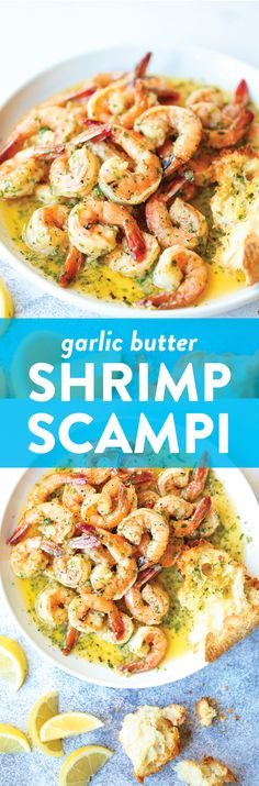 Garlic Butter Shrimp Scampi - Damn Delicious Made in just 20 min from start to finish! The garlic butter sauce is TO DIE FOR – so buttery, so garlicky/lemony + so perfect! Shrimp Dishes, Fish Dishes, Shrimp Recipes, Fish Recipes, Pasta Dishes, Main Dishes, Garlic Butter Shrimp Scampi Recipe, Garlic Shrimp, Tasty