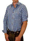 Trachtenhemd Sebastian kariert mit edlen Karo Kontrasten 100% Baumwolle Größen:S;Farben:kobalt-weiss @@i$#