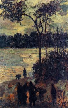 Paul Gauguin - Fire by the water, 1886, Madrid