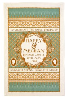 Royal Wedding Kiss Tea Towel Flowers Prince Harry Meghan Markle Souvenir Gift UK