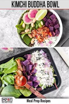 This Kimchi Buddha Bowl Meal Prep is even more delicious than it is pretty to look at due to the variety of colorful, delicious, and gut-health promoting ingredients that will leave you feeling satisfied and healthy! Vegan Meal Prep, Lunch Meal Prep, Easy Meal Prep, Easy Meals, Dinner Meal, Keto Meal, Lunch Recipes, Healthy Dinner Recipes, Healthy Lunches
