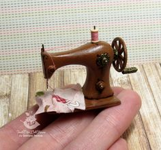 Miniature sewing machine for dolls and doll by SweetMiniDollHouse