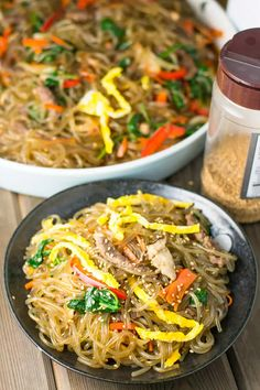 Japchae (Korean Stir-fried Noodles) - Salu Salo Recipes Chapchae Recipe, Japchae, Korean Sweet Potato Noodles, Healthy Dinner Recipes, Cooking Recipes, Health Recipes, Korean Dishes, Korean Food, Asian Recipes