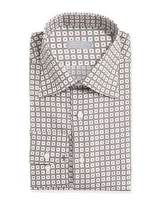 Small-Floral-Check Dress Shirt, White by Stefano Ricci at Neiman Marcus.